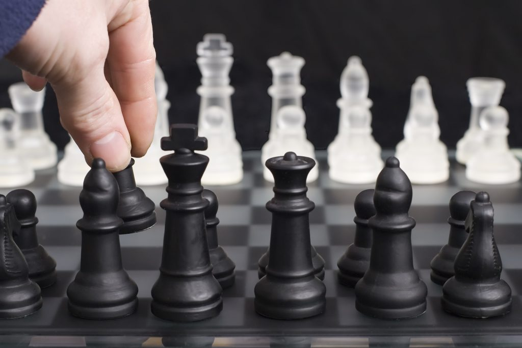 Opening move on a chessboard